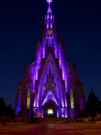 Located                                                           in the                                                           Brazilian city                                                           of Canela, the                                                           Cathedral of                                                           Our Lady of                                                           Lourdes                                                           exhibits an                                                           English gothic                                                           style with a                                                             213-foot-tall                                                           tower and a                                                           dozen bronze                                                           bells imported                                                           from a foundry                                                           in Italy.