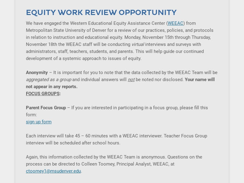 EQUITY WORK REVIEW OPPORTUNITY We have engaged the Western Educational Equity Assistance Center...