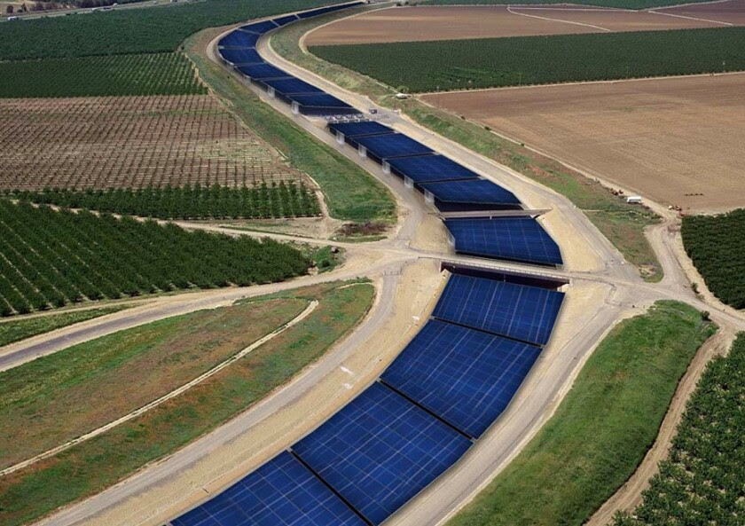 A rendering shows what the California Aqueduct would look like covered with solar panels.