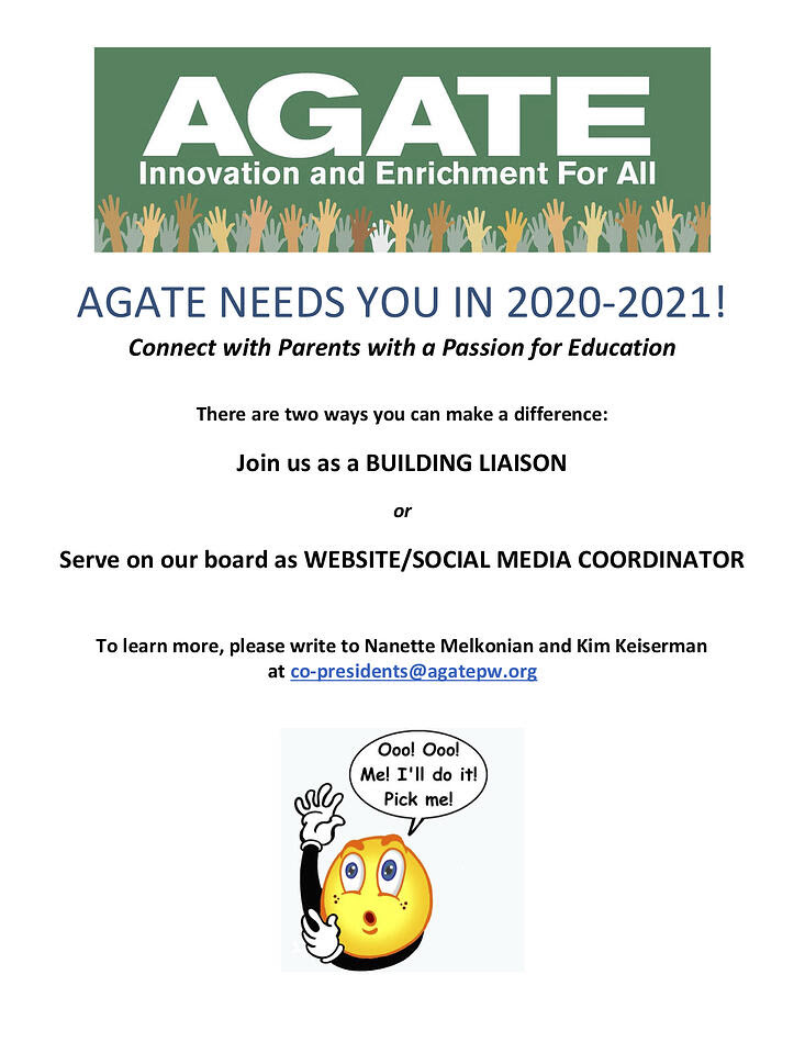AGATE NEEDS YOU IN 2020