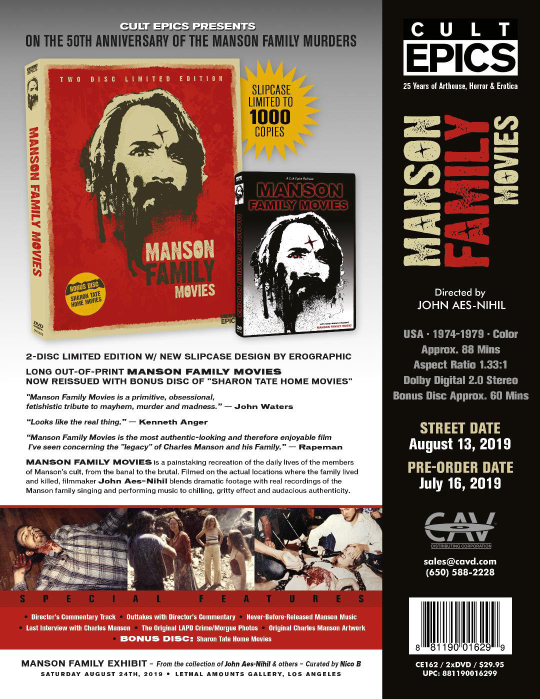 Cult Epics Releasing MANSON FAMILY MOVIES 2-DISC LIMITED EDITION