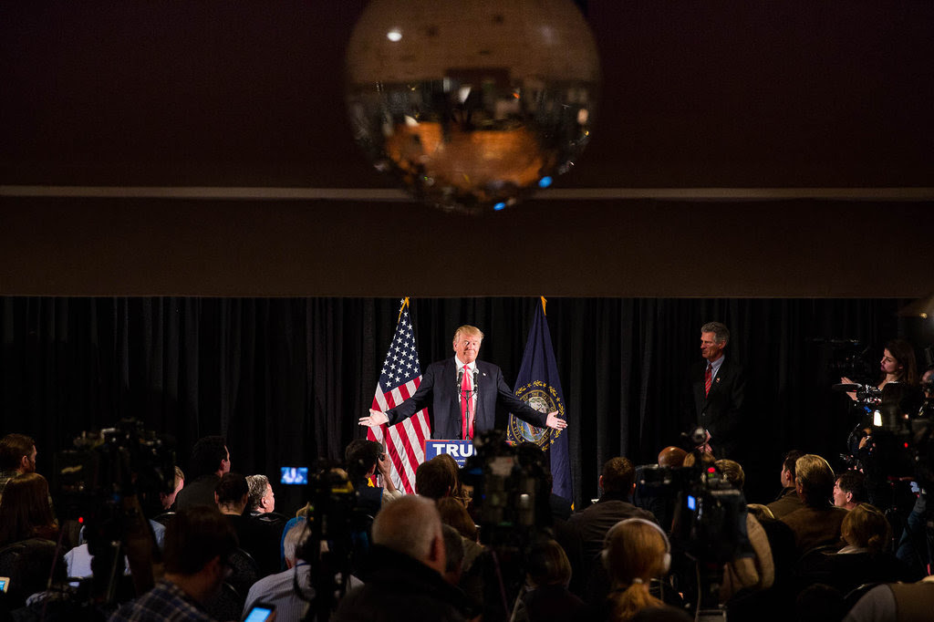 Donald J. Trump held a news conference in Milford, N.H., on Tuesday night with Scott P. Brown, a Republican former senator from Massachusetts.