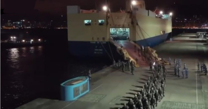 China Unloads Troops & Cargo Into Hong Kong From Giant Ship Amidst Rumors of Crackdown