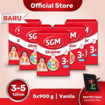 Buy 5 SGM Eksplor 3+ Vanila [900gr] + Free Tablet Aktivitas Generasi Maju