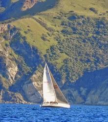 J/133 sailing past San Clemente Island