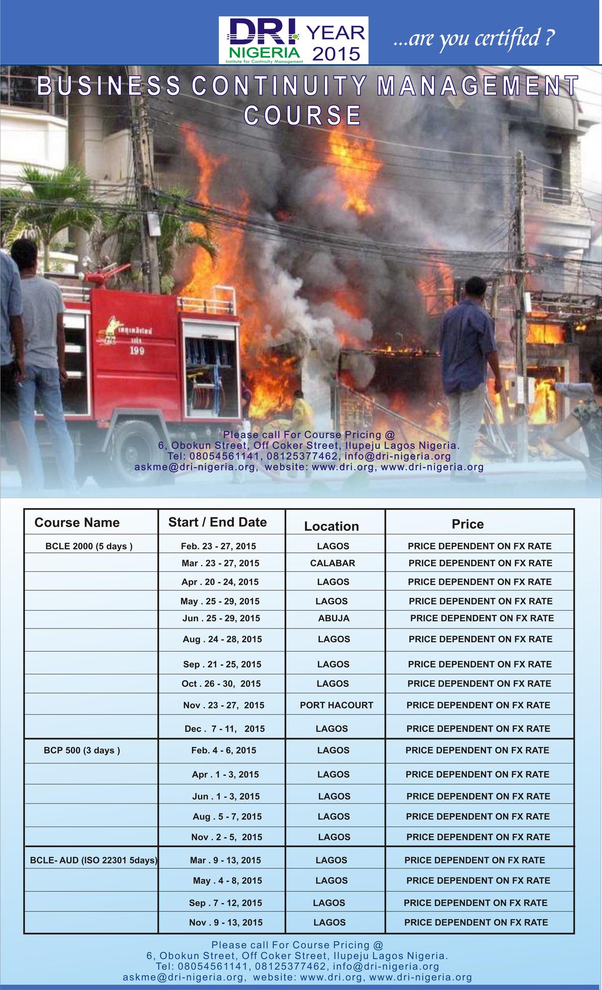 BCM - Year 2015 Schedule