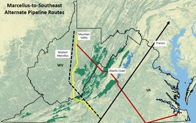 MAP: Huge pipelines originating near the West Virginia/Pennsylvania border and intended to carry Marcellus and Utica natural gas to eastern markets are running into spreading resistance from landowners on the routes. Map courtesy of Appalachian Mountain Advocates.
