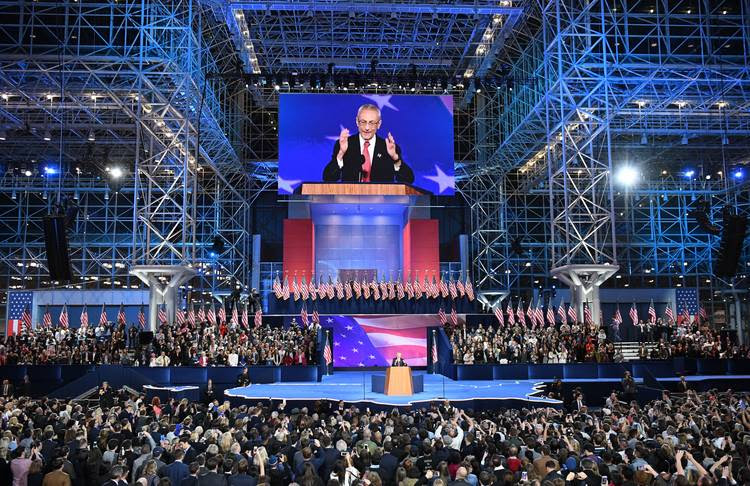 John Podesta speaks at the Javits Center. (Jonathan Newton/The Washington Post)