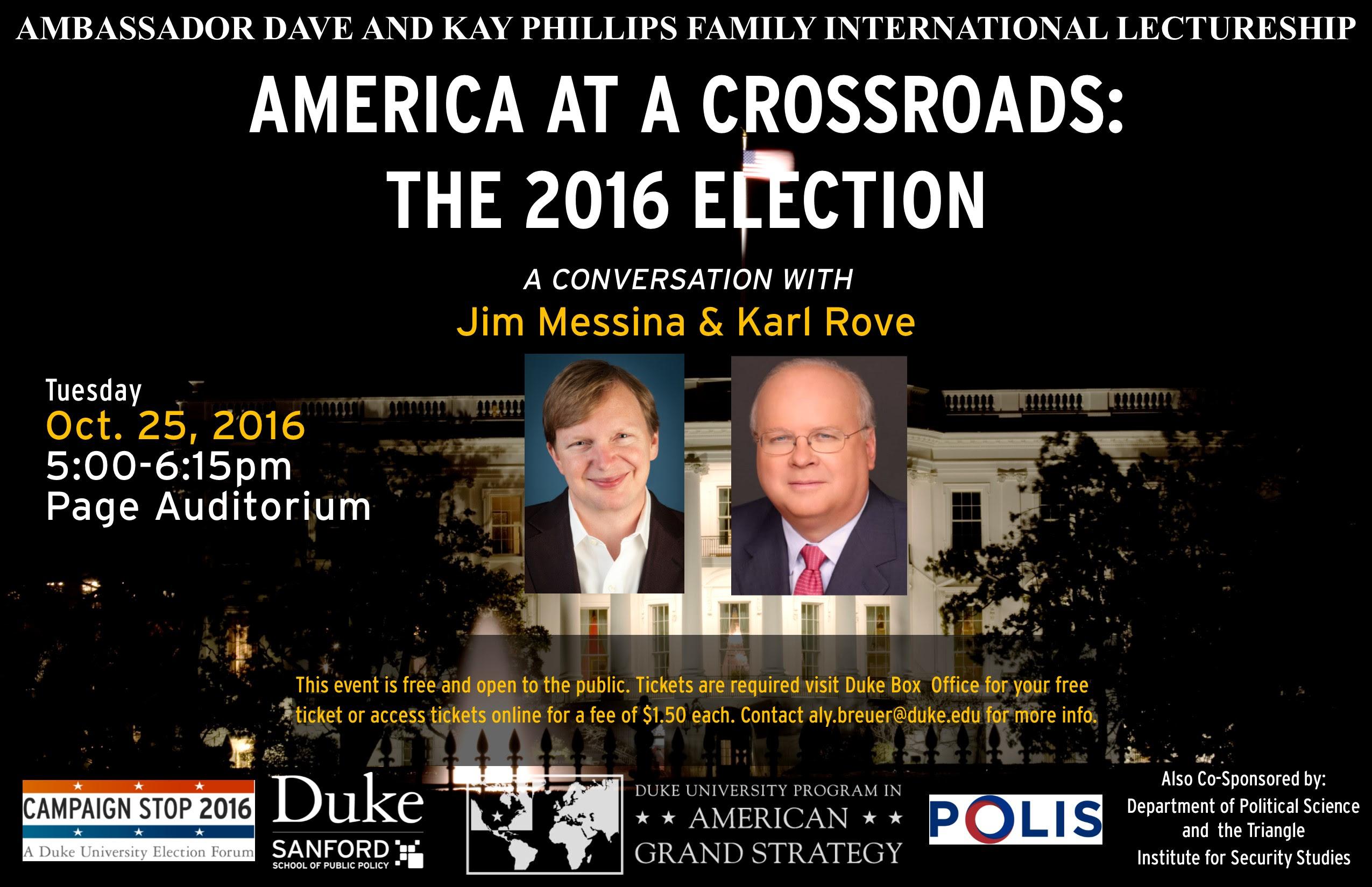 America at a Crossroads: The 2016 Election @ Page Auditorium | Durham | North Carolina | United States