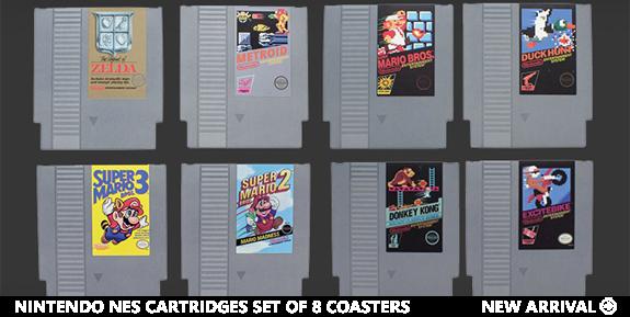 Nintendo NES Cartridges Set of 8 Coasters