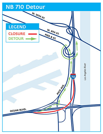 Ramp closure detour map