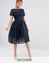 Chi Chi London Premium Lace Dress with Cutwork Detail and Cap Sleeve