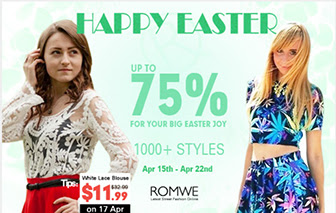 Happy Easter, up to 75% off at Romwe, free shipping.