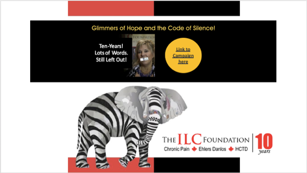 An elephant with stripes, a woman with tape over her mouth. Text: Glimmers of Hope and Code of Silence