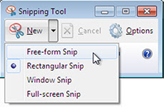 Use the snipping tool