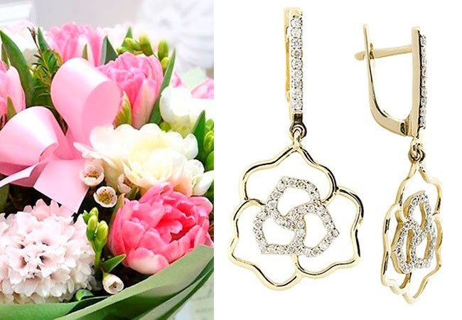 Серьги в виде цветов в подарок на 8е марта