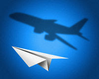 Paper Airplane With A Shadow Of A Jetliner - Concept Illustration ...