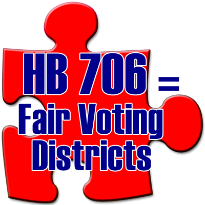 Graphic saying HB706=Fair Voting Disticts