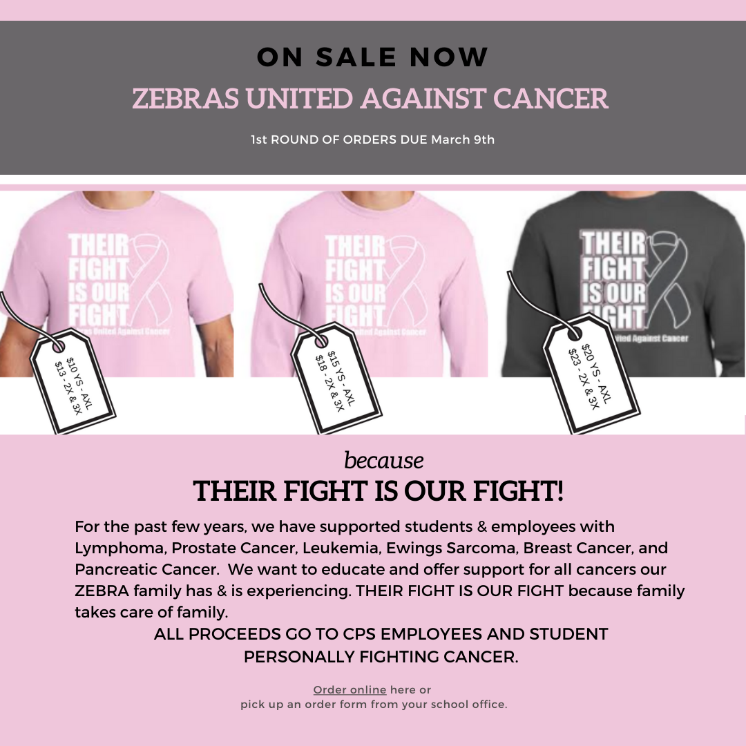 Zebras United Against Cancer t-shirt now on sale.