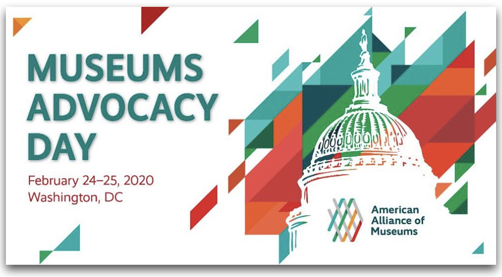 Capitol Building Graphic with text that reads Museums Advocacy Day February 24-25, 2020 Washington, DC and AAM logo