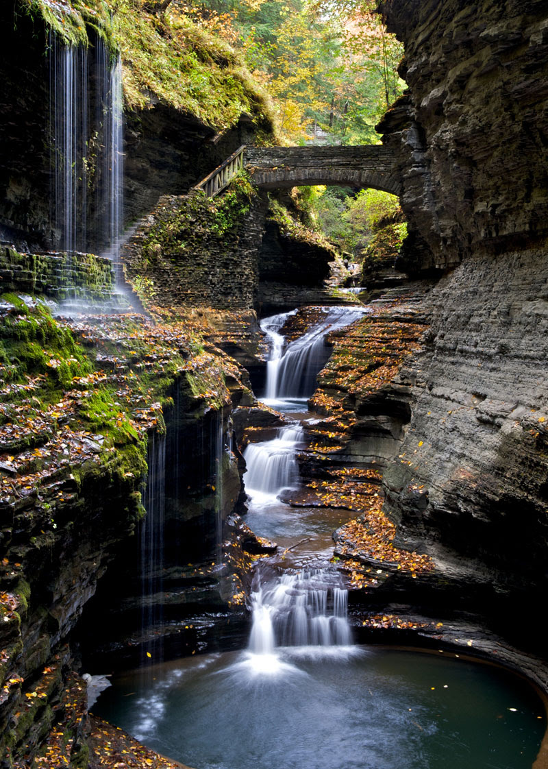 http://twistedsifter.com/2013/09/watkins-glen-gorge-rainbow-bridge-new-york/