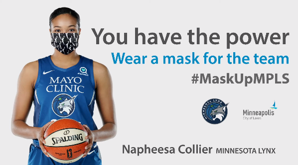 mask up minneapoli smesage with Napheesa Collier