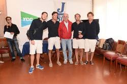 Giacomo Loro Piana and friends celebrating 2nd at Italian J/80 Nationals