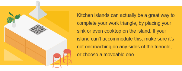 Kitchen islands can actually be a great way to complete you work triangle.