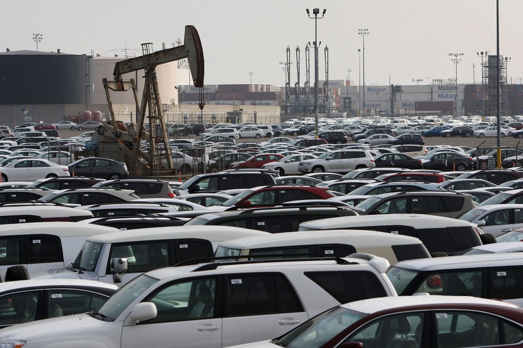 Foreign Imported Cars Sit Idle At Port Storage Lot
