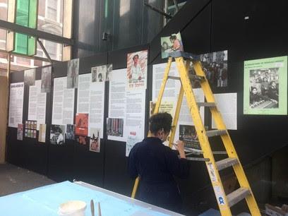 Sanjida Alam installs exhibition on escalator shaft
