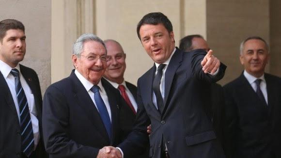 Raúl Castro y Matteo Renzi, 10 de mayo de 2015, en Roma. Foto: ANSA