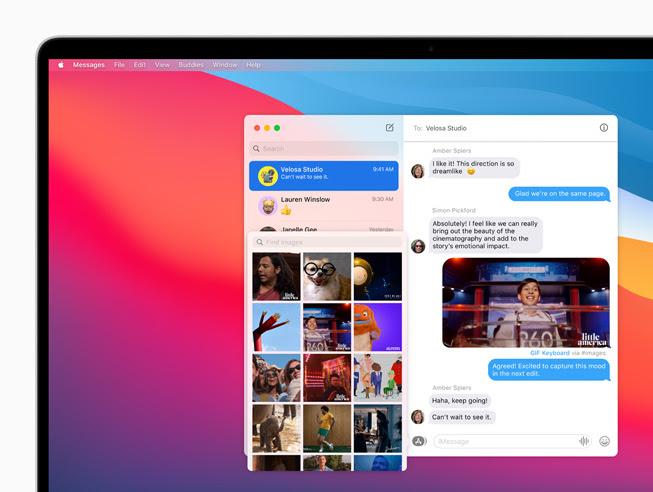 顯示在 MacBook Pro 上「訊息」中的全新照片選擇器。