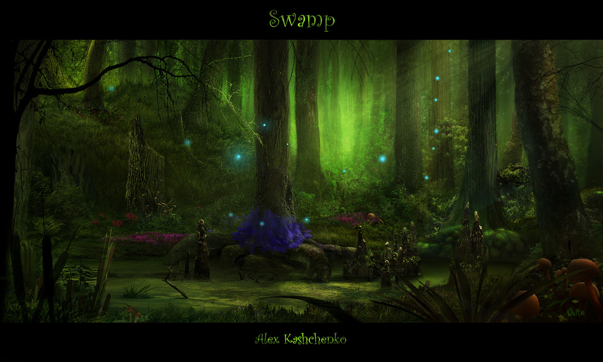 1500x900 4905 Swamp 2d landscape green fantasy matte painting swamp picture image digital art