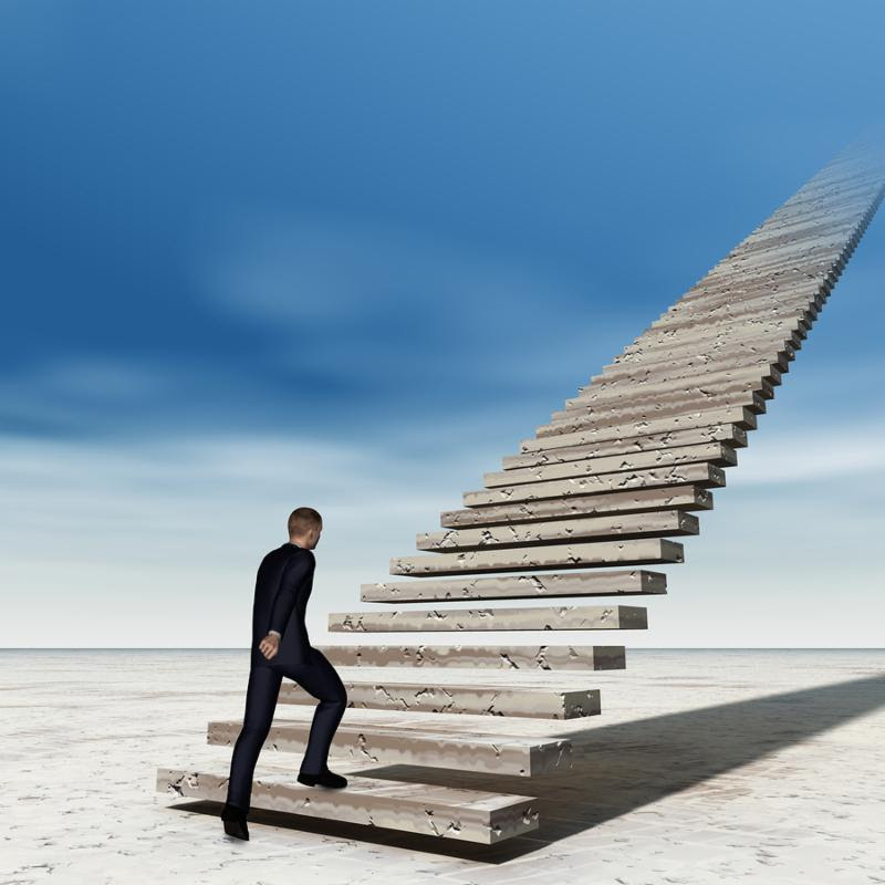 Concept conceptual 3D business man walking or climbing stair on sky background with clouds, metaphor to success, career, work, job, achievement, development, growth, progress, vision, future or faith