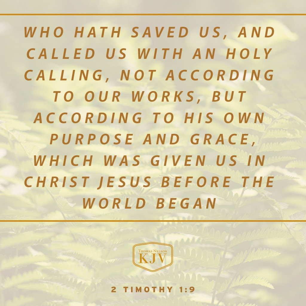 9 Who hath saved us, and called us with an holy calling, not according to our works, but according to his own purpose and grace, which was given us in Christ Jesus before the world began, 2 Timothy 1:9
