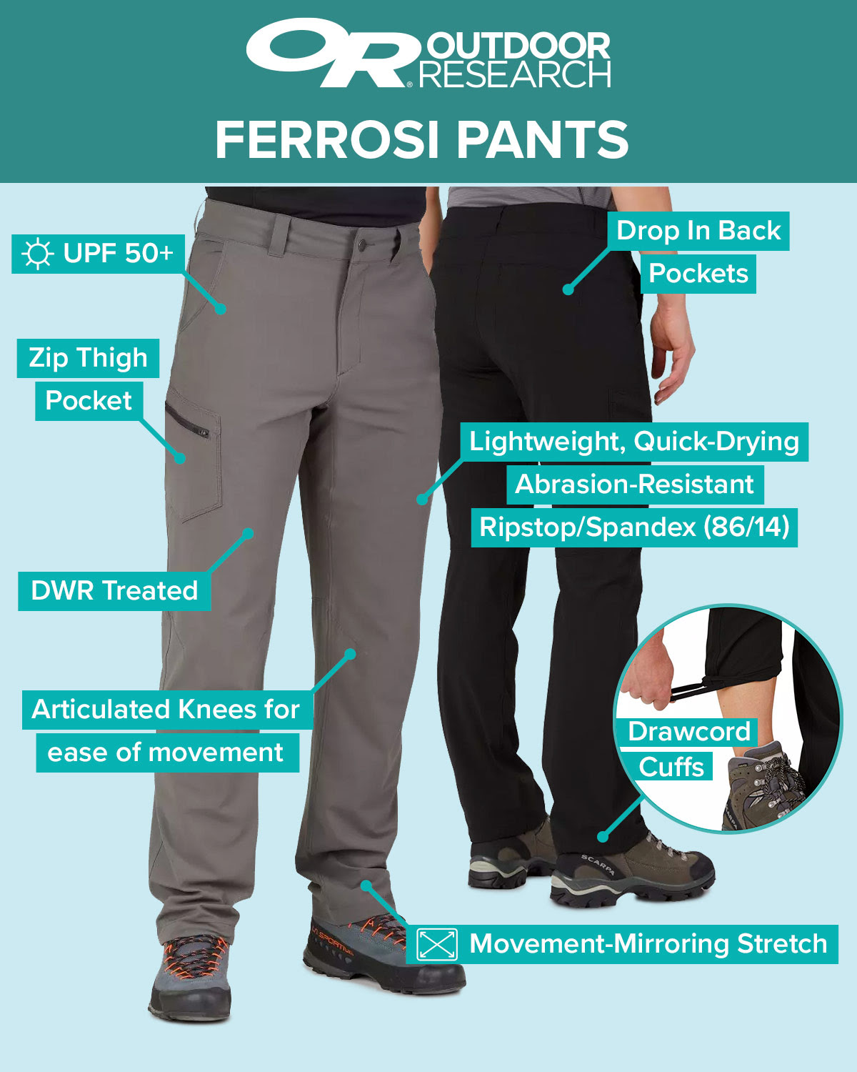 Outdoor Research Ferrosi Pants. Online and in store at Bivouac Outdoor*