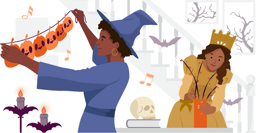 Foreground: A person in a witch hat surrounded by music notes is hanging a string banner of pumpkins on a wall. Background: A woman in a princess costume surrounded by bats puts plants into a vase
