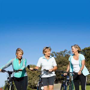 Menopause, aging, older women riding bikes