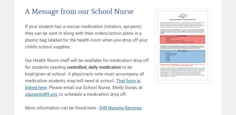 A Message from our School Nurse