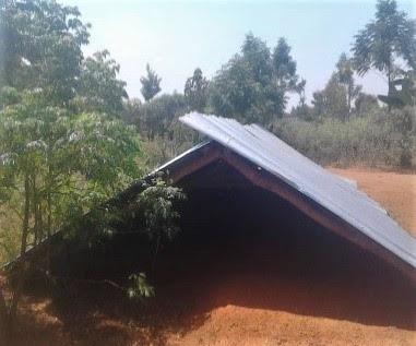 Roof of church building torn down in Kibuku District, eastern Uganda. (Morning Star News)