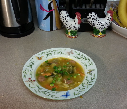 Presentation of the soup with the green onions garnish in my butterfly soup bowl.