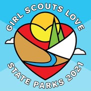 """A logo with a heart and nature that reads """"Girl Scouts Love State Parks."""""""