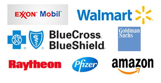Exxon Mobil, Pfizer, Walmart, BlueCross BlueShield, Goldman Sachs, Raytheon, Amazon