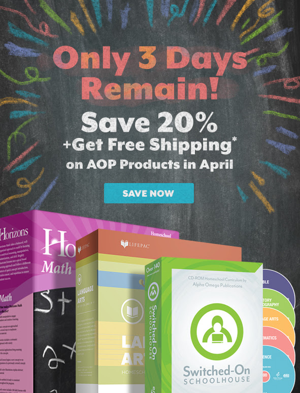 3 Days Left to Take 20% off AOP Homeschool Curriculum