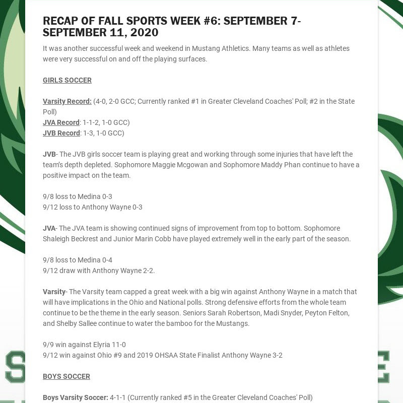 RECAP OF FALL SPORTS WEEK #6: SEPTEMBER 7-SEPTEMBER 11, 2020 It was another successful week and...