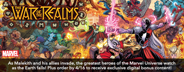War Of The Realms (2019-) #1 (of 6): Director's Cut As Malekith and his allies invade, the greatest heroes of the Marvel Universe watch as the Earth falls! Plus order by 4/16 to receive exclusive digital bonus content!