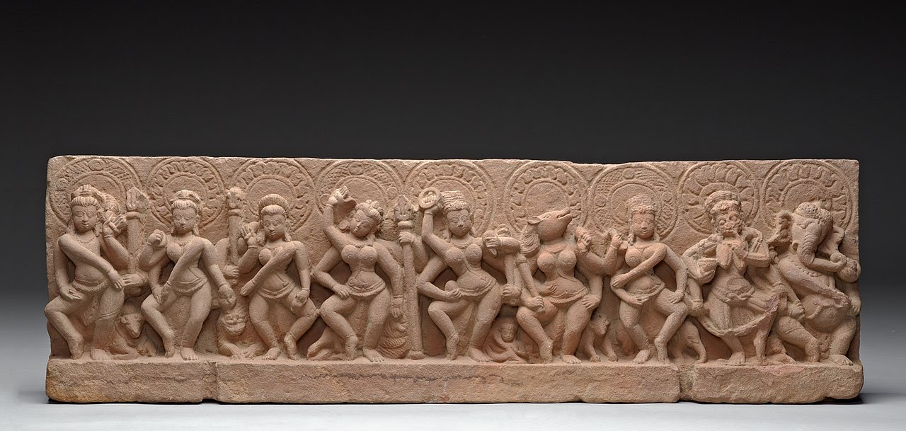 The Seven Mother Goddesses (Matrikas) Flanked by Shiva-Virabhadra and Ganesha, Lord of Obstacles LACMA M.80.157 (1 of 4).jpg