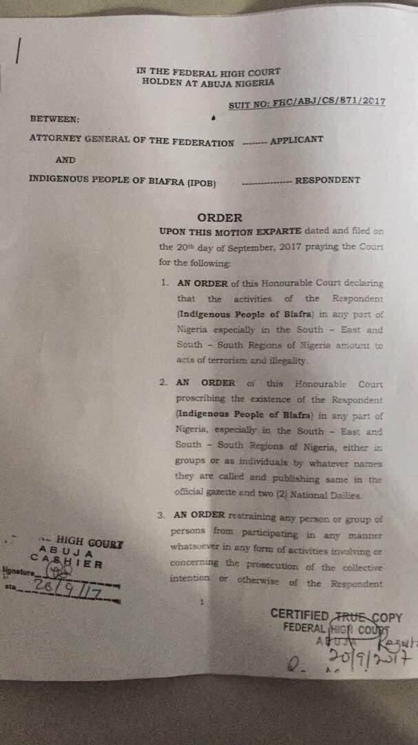 Ex-parte Court Declares IPOB a Terror Group