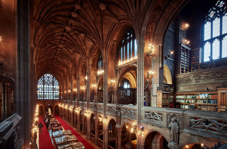 The Historic Reading Room of The John Rylands Library.