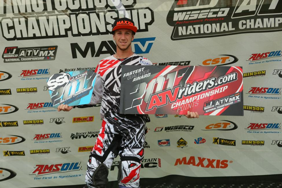 Joel Hetrick earned the ATVriders.com Top Qualifier Award in addition to both SSi Decal Holeshot Awards at Spring Creek MX this past Saturday.